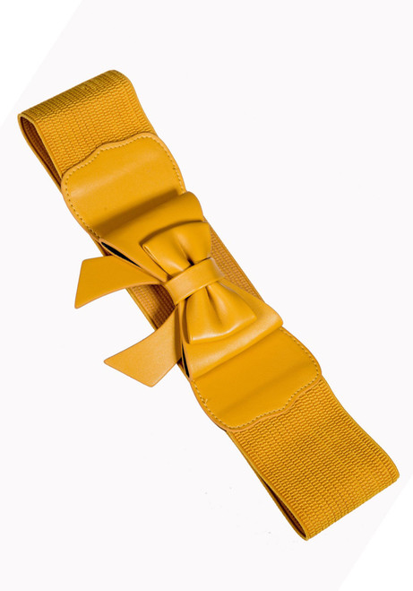 banned apparel bow play right stretch belt - mustard