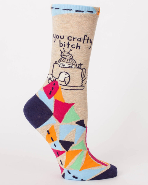 blue q womens crew socks - you crafty bitch