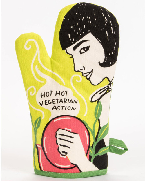 blue q oven mitt - hot vegetarian action