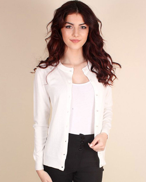 Candy Button Long Sleeve Crewneck Cardigan - White