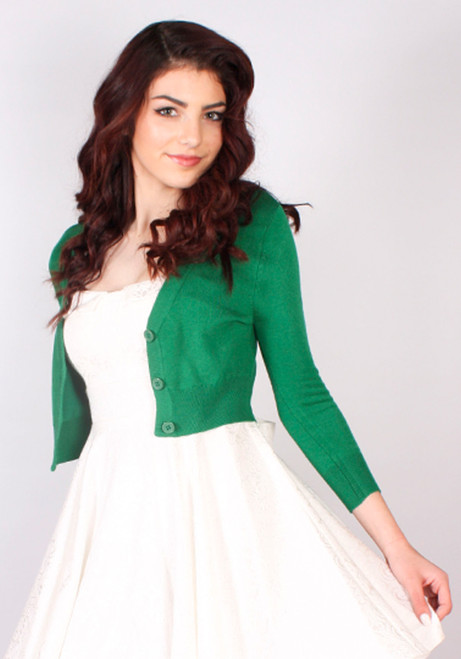 Elaina Cropped 3/4 Sleeve Cardigan kelly green