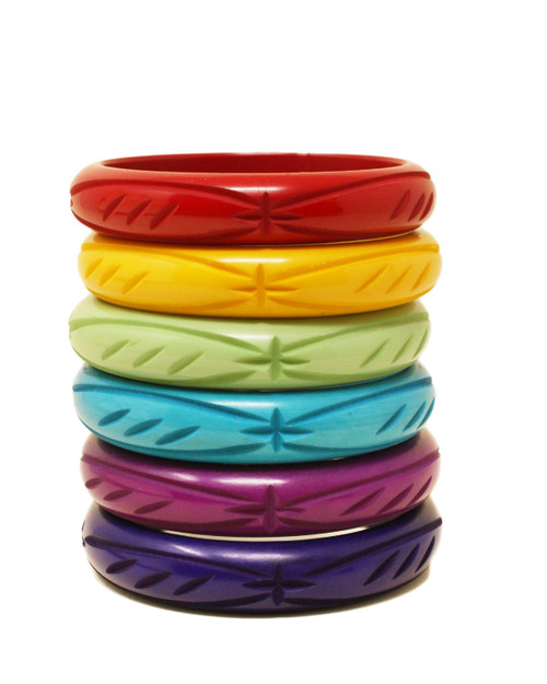 Star Cut Vintage Style Resin Bangles all colors stacked
