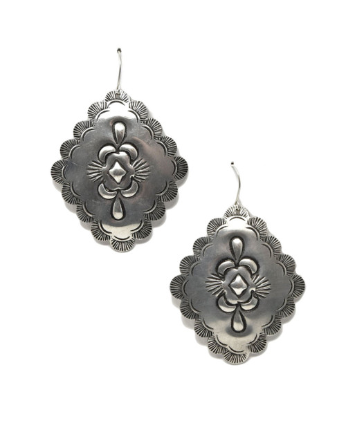 Southwest Style Etched Concho Dangle Earrings on white background