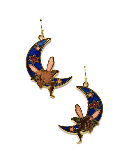 Fairy & Crescent Moon Vintage Style Cloisonne Dangle Earrings on white background