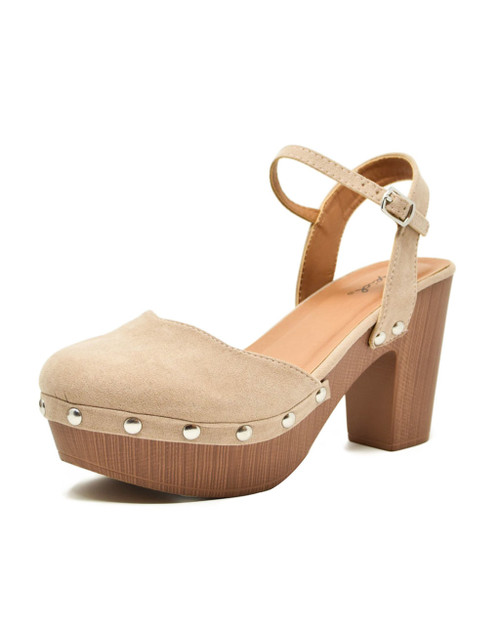 Faux Suede Studded Lightweight Wooden Clog Sandals taupe