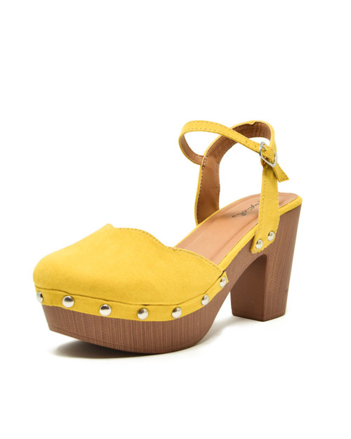 Faux Suede Studded Lightweight Wooden Clog Sandals yellow