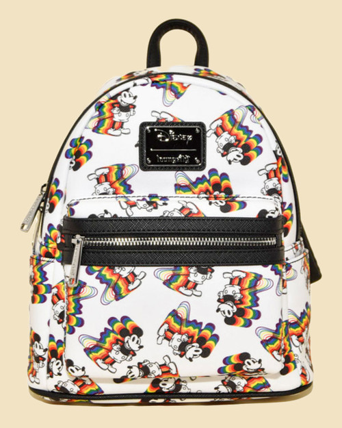 Loungefly x  Disney's Mickey Mouse Rainbow Faux Leather Mini Backpack