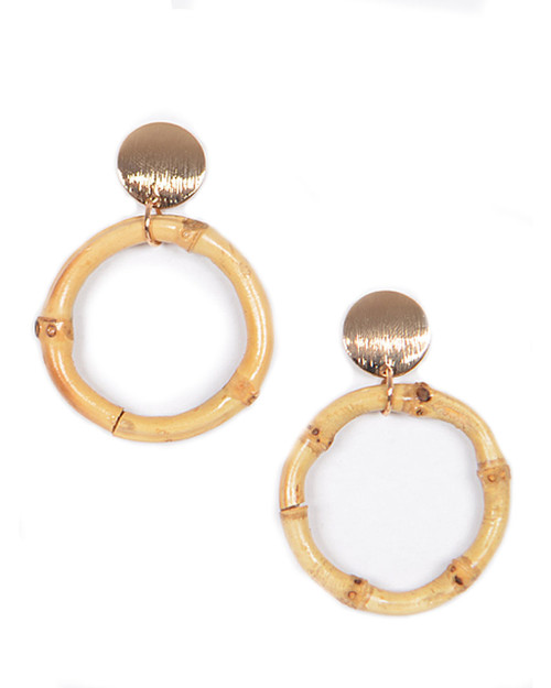 Tiki Bamboo + Gold Disc Small Hoop Dangle Earrings on white background