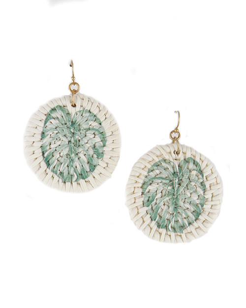Monstera Palm Leaf Wicker Dangle Earrings