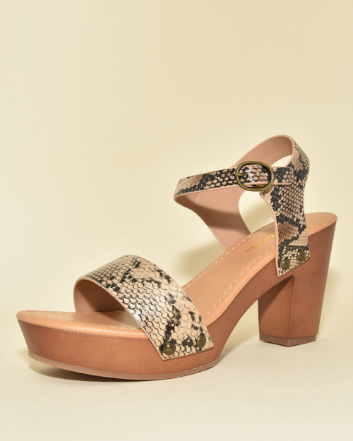 Snake Print Single Strap Wooden Clog Heeled Sandals