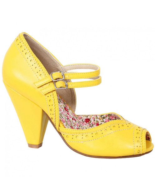 Bettie Page Nellie Double Strap Peep Toe Pumps yellow