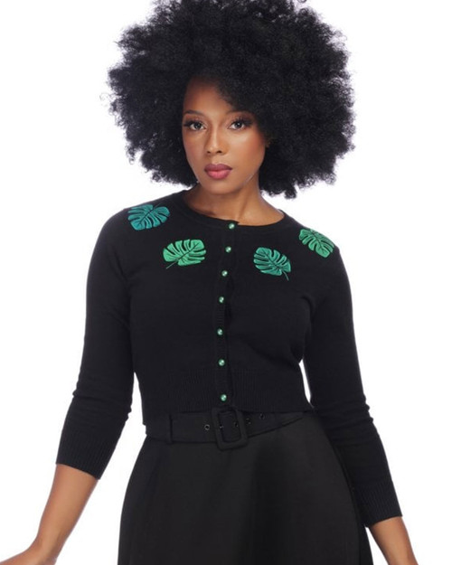 Collectif Jessie Tropical Palm Leaf 3/4 Sleeve Cardigan