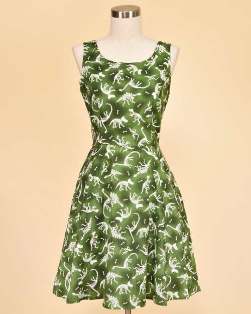Retrolicious No Bones About It Glow In The Dark Dinosaur Print Sleeveless A-Line Dress