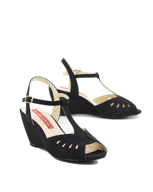 BAIT Footwear Dazzle Teardrop Peep Toe Wedge - black