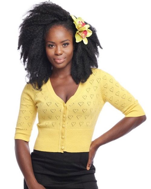 Collectif Evie Cutout Heart Pattern 3/4 Sleeve V-Neck Cropped Light Yellow Cardigan-Front Model Shot