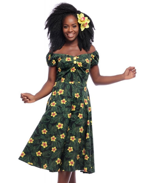 Collectif Dolores Tropical Hibiscus Print Cap Sleeve A-Line Doll Dress