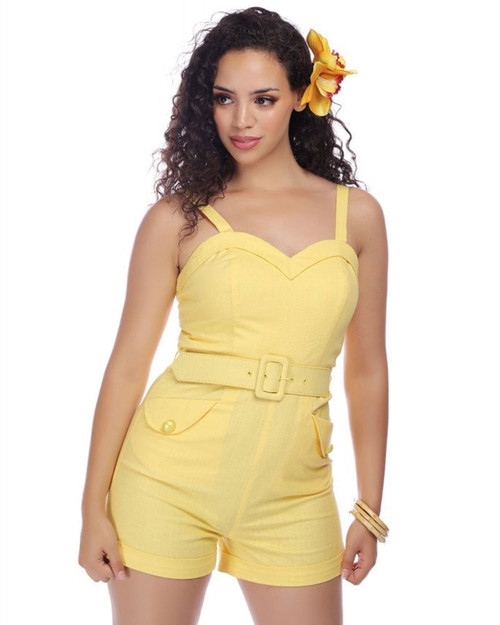 Collectif Jay Plain Sweetheart Belted Playsuit