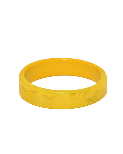 Voodoo Vixen Vintage Inspired Two Tone Slim Resin Stacking Bangle - yellow