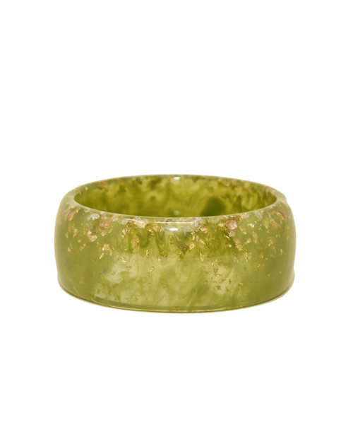 Voodoo Vixen Speckled Gold Wide Resin Bangle white background