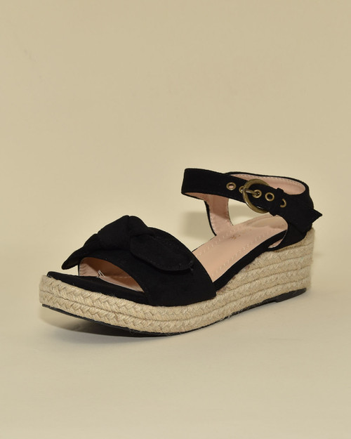 Chase + Chloe Suede Knot Bow Espadrille Wedge Sandals black