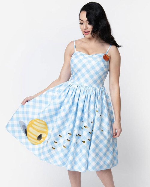 Unique Vintage Darcy Bumblee Bee Gingham Dress