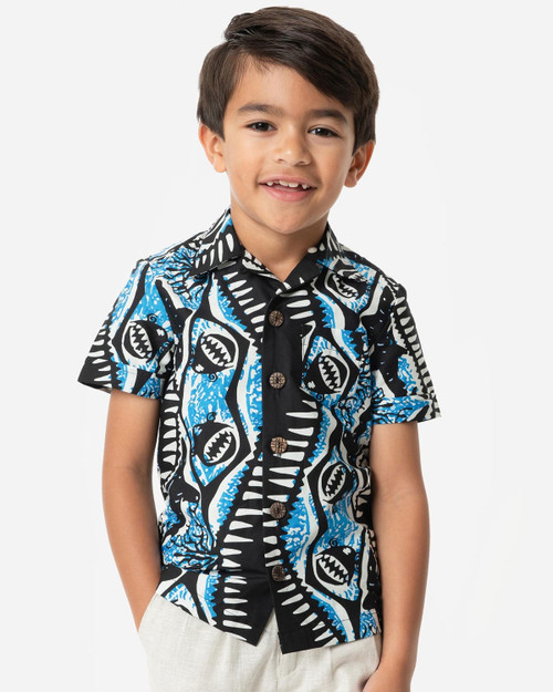 Unique Vintage x Alfred Shaheen Shark Print Kahuna Boys Shirt