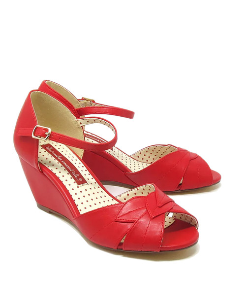 BAIT Footwear Danita Leaf Peep Toe Wedge Sandals - red