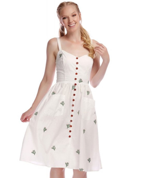 Collectif Kimberly Cactus Embroidered Sleeveless Button Swing Dress close up