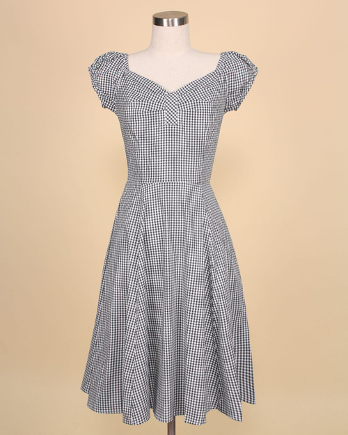 Gingham Sweetheart Cap Sleeve A-Line Dress in black front