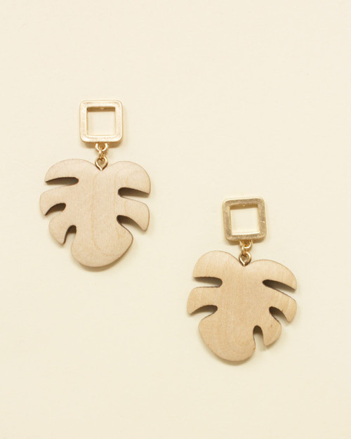 Tiki Wooden Monstera Palm Leaf Drop Earring in beige