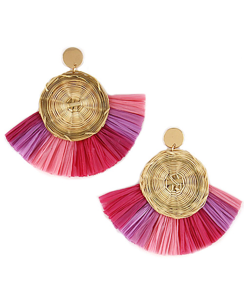 Multi Color Straw Fan Rattan Drop Earrings - pink