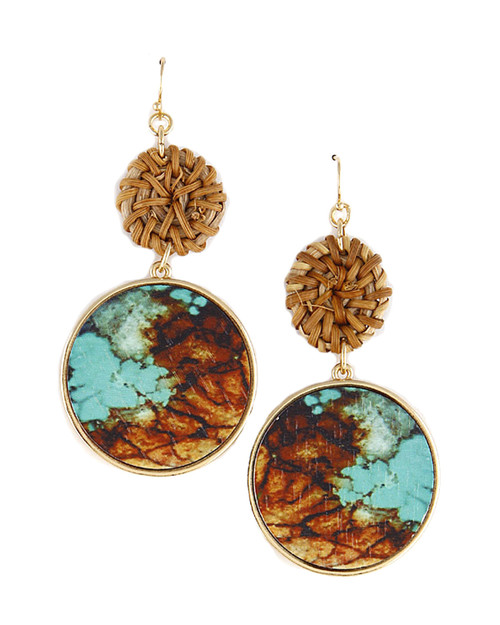 Jade Marbled Print Wicker Drop Earring