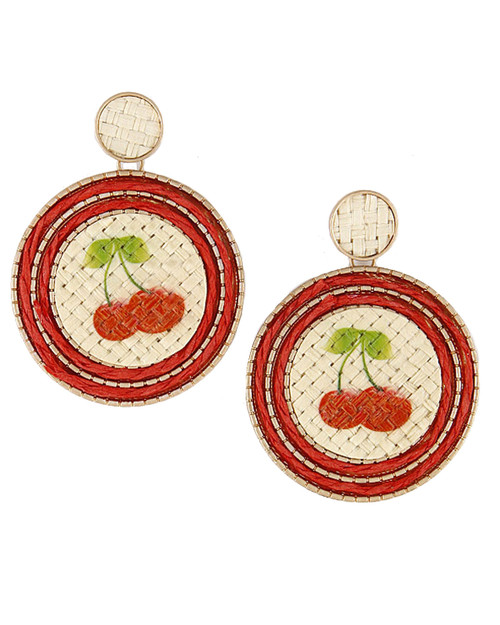 Cherry Rattan Basket Weave Drop Earrings
