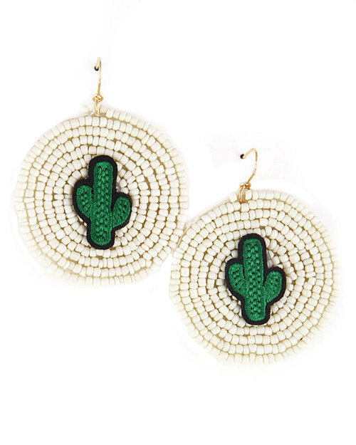 Beaded Cactus Dangle Earrings