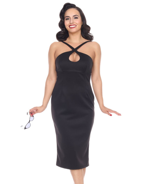 bettie page cross my heart solid wiggle dress - close up