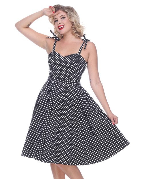 bettie page polka dot albuquerque swing dress - black and white close up