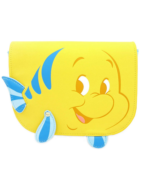 loungefly x disneys the little mermaid flounder waist bag front