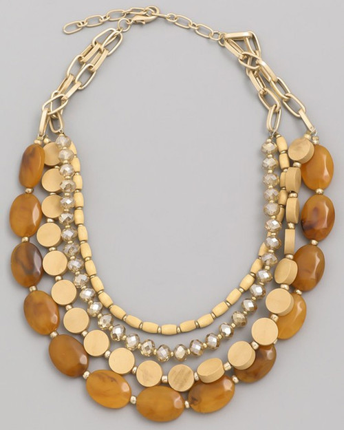 multi bead layered chain necklace in orange