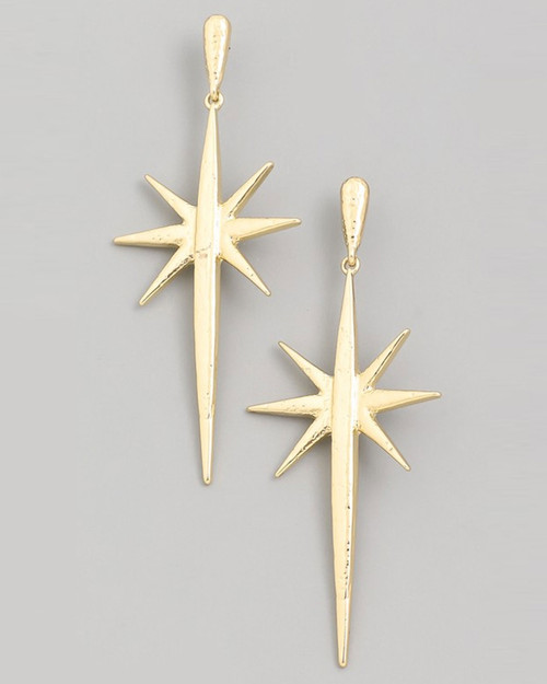 retro starburst drop earrings in gold