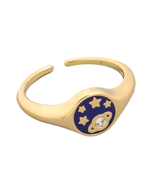 saturn and star enamel gold midi ring on white background