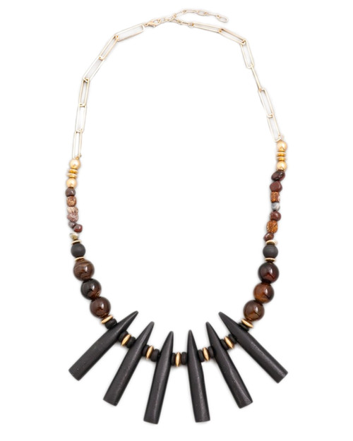 tiki beaded statement necklace on white background