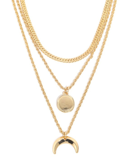 moon and charm multi layer chain necklace in gold