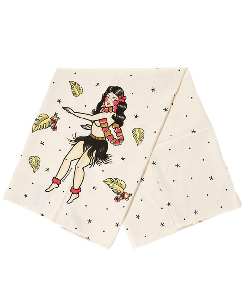 sourpuss tiki hula gal dish towel