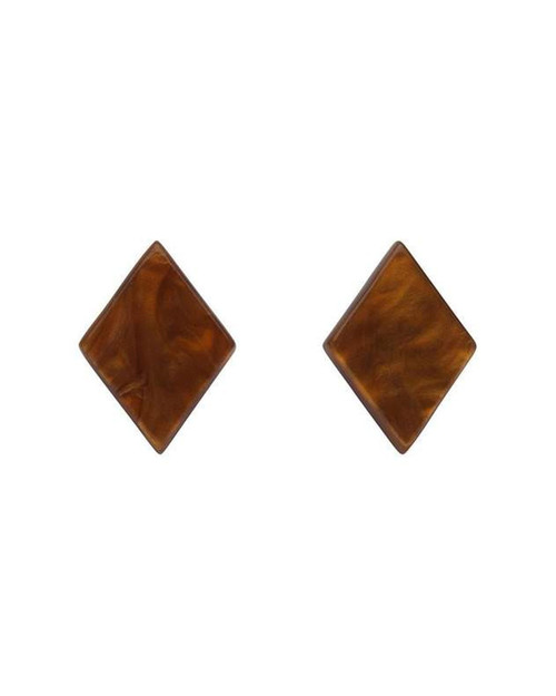 erstwilder diamond textured resin stud earrings - brown