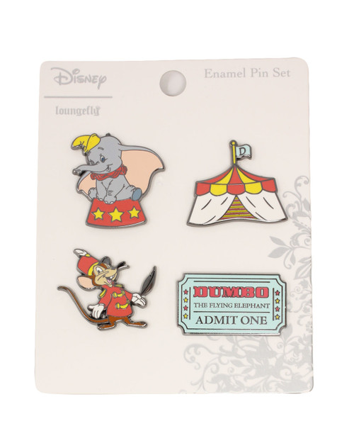 loungefly x disneys dumbo 4 piece enamel pin set