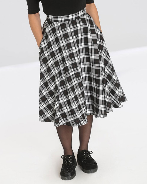 Hell Bunny Manchester Plaid High Waist Swing Skirt
