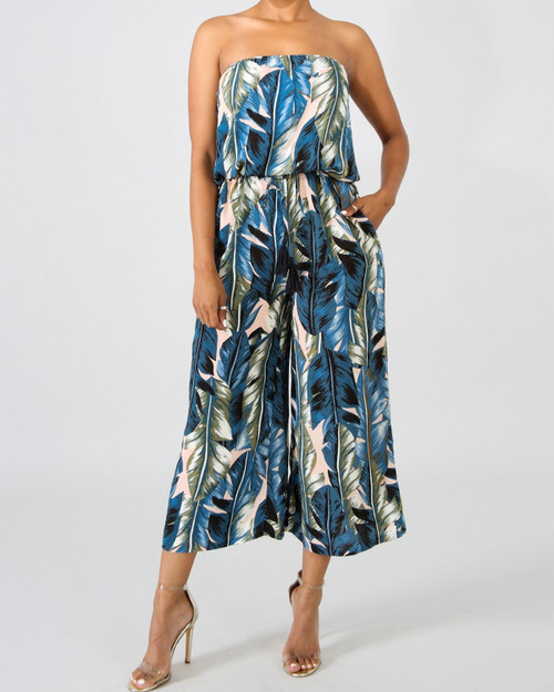Tropical Banana Leaf Print Strapless Cropped Jumpsuit front