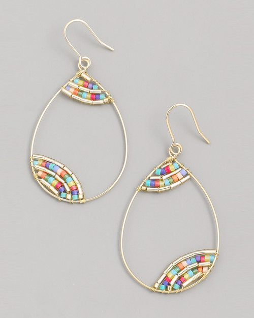 rainbow seed bead teardrop wire dangle earrings