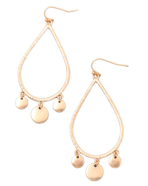 gold disc teardrop dangle earrings with white background