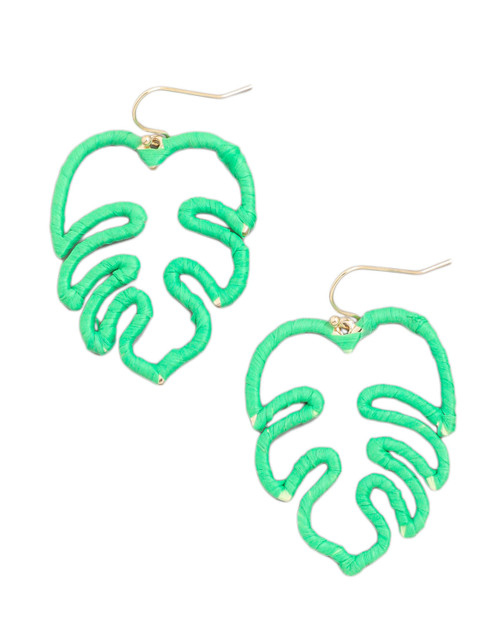 monstera palm leaf raffia straw wrapped dangle earrings with white background